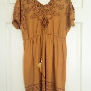 Tan Cold Shoulder Dress